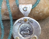 RESERVED FOR L Ancient Greek Pegasus Pendant,  Silver gold and Gemstone Coin necklace,  , Ancient coin necklace