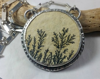 Dendritic Stone Necklace, Large silver Pendant, Nature Jewelry