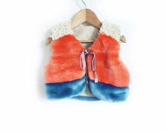 Childs faux fur shearling vest / baby girl boy gilet / blue orange jacket / baby coat / vegan vest / childs vest / blue orange