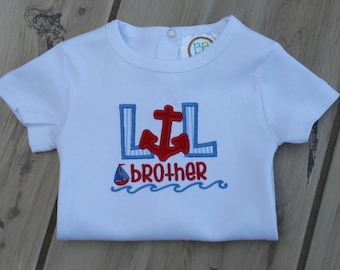 Personalized Lil Brother Anchor Appliqued Bodysuit ~ New Baby Coming Home Outfit ~ Baby Shower Gift ~ Lil Bro Embroidered Onepiece ~