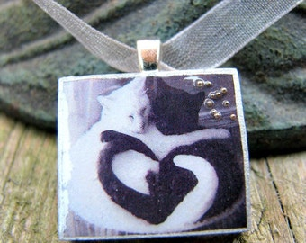 Scrabble tile necklace, CAT LOVE, cat lover gift, Scrabble pendant, Scrabble tile necklace, black and white, black cat, wedding favors