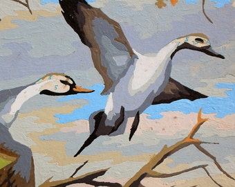 vintage paint by number painting of two birds wild geese canadian geese on board 1950s art midcentury animal portrait