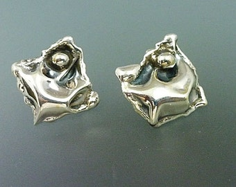 Sterling Silver Earrings with Sterling Posts Crinkle One Bubble