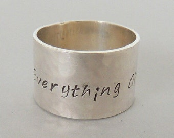 Personalized wide band Ring - longitude and latitude ring, Monogram and Name Jewelry