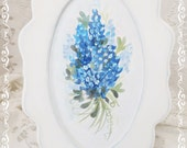 Oval Framed Bluebonnets Signature Hand Painting Original Design on Fabric Canvas, ECS