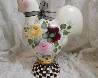 Stately Checked Designer Ceramic Rooster with Hand Painted Roses, Black and White Checks, Original Design, ECS