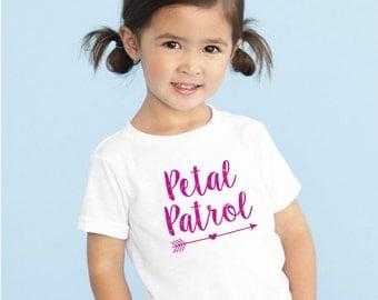 Petal Patrol Glitter shirt flower girl tshirt  tee flower girl shirt