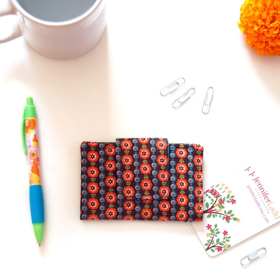Floral business card holder, Fabric business card holder, Business card case, Brown fabric wallet, Gift card holder, Credit card wallet