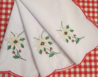 Three Vintage Christmas Napkins - Embroidered Poinsettias