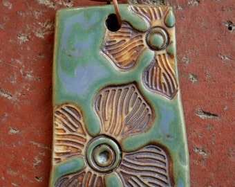 Rustic Flowers on Blue Lavender and Green Porcelain Pendant 2