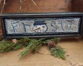Punch Needle Kit Frosty Pattern on Weavers Cloth Valdani Threads Wood box