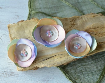 Satin fabric flowers, silk flower appliques, small satin roses, rainbow wedding flowers, flower embellishment (3pcs)- PASTEL RAINBOW ROSES