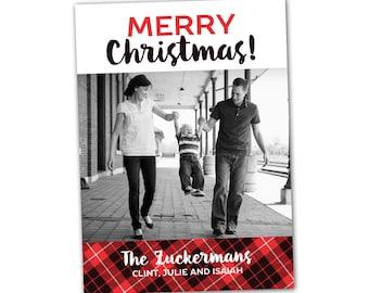 Tartan plaid Christmas card, red and black, tartan Merry Christmas holiday card, custom photo card