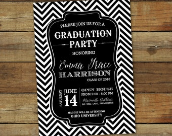 Chevron graduation party invitation, in any color, printable graduation open house invite, class of 2017