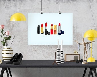 4 Classic Red Lipsticks Fashion Illustration Art Poster