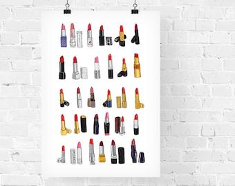 30 Lipsticks Fashion Illustration Art Print