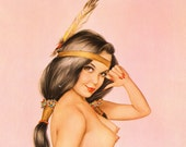 """Original Vargas Girl Pin-Up April 1973 Vintage Playboy Nude Mature Art """"So you're from the Bureau of Indian Affairs?"""" 2 Page Gatefold"""