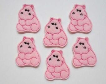 Lt Pink Felt Embroidered Baby Hippos Embellishments - Feltie - 430