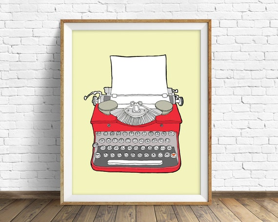 "drawing, vintage typewriter, large wall art, modern home decor, mid century modern, illustration, red art, poster-""Vintage Typewriter No. 3"""