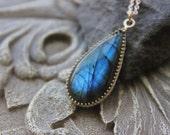 Large Labradorite Pendant, Briolette pendant, Blue flashy Labradorite, Spiritual Jewelry, Long pendant