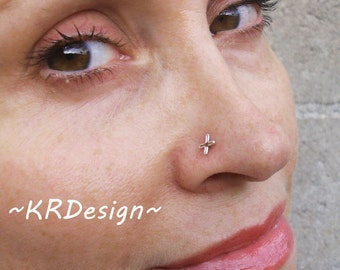 Sterling Silver-14K Gold-Star-Nose Ring-Tragus-Earrings-Customized / Free US Shipping