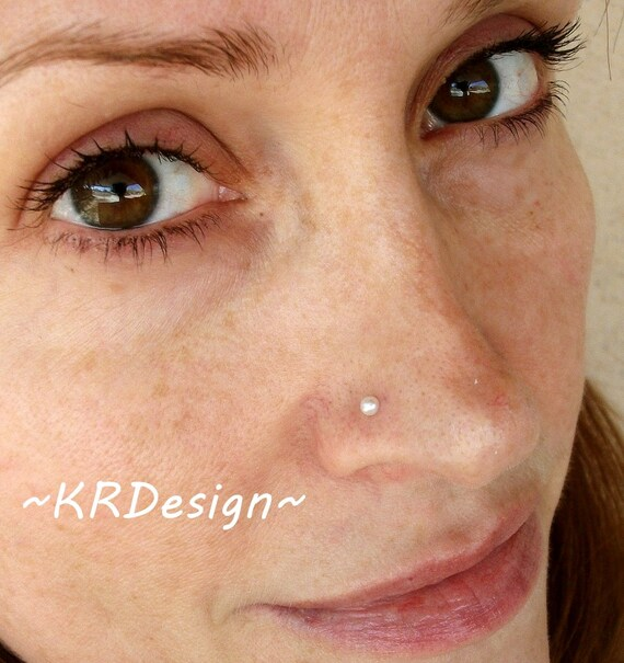 Sterling Silver - Gold - Fresh Water Pearl - Nose Stud -  / Free US Shipping