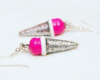 Ice cream earrings, ice cream cone, summer jewelry, dangle earrings, hot pink earrings, kawaii jewelry, kitsch jewelry, ice cream jewelry