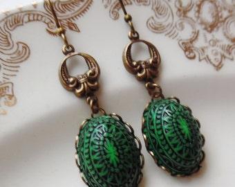 Vintage Button Earrings- Green Batik