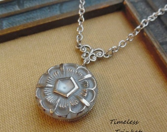 Vintage Glass Button Necklace-Gray Pentagon - Designs by Timeless Trinkets