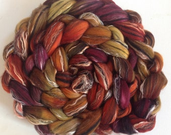 Hand dyed wool roving merino linen 4.2ozs ready to ship