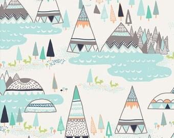 Woodland Pine - Indian Summer - Sarah Watson - Art Gallery Fabrics - Teepee Tepee Wigwam Native American Southwest