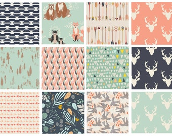 12 FABRIC BUNDLE - Hello, Bear - Morning Walk - AGF - Woodland Deer Head Antlers Forest Mint Navy Peach