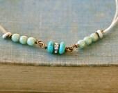 Glass beaded string bracelet,boho friendship stacking adjustable yoga. Tiedupmemories