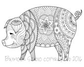 Pig Coloring Page, Printable Coloring Pages, Adult Coloring Pages, Digital Illustration, INSTANT DOWNLOAD PRINT