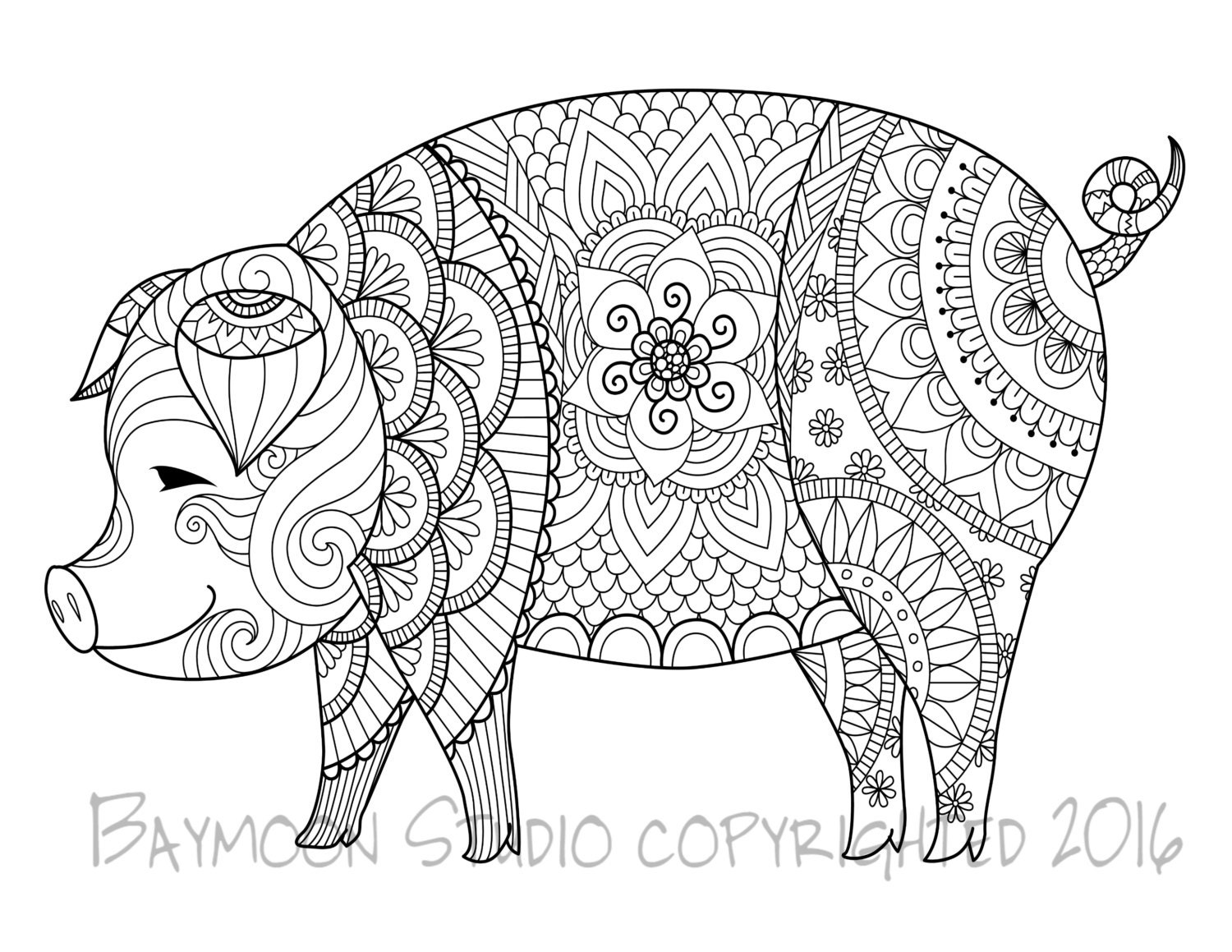 This is an image of Slobbery pig coloring pages for adults