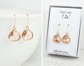 Peach Gold Earrings, Champagne Gold Earrings, Light Peach Gold Earrings, Bridesmaid Earrings, Bridesmaid Gift, Wedding Jewelry