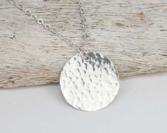 Sterling Silver Hammered Pendant Necklace, Sterling Silver Necklace, Long Silver Necklace, Silver Disc Necklace, Silver Birthstone Necklace