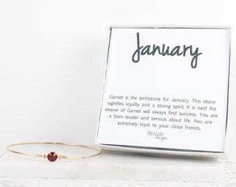 January Birthstone Swarovski Garnet Gold Bangle Bracelet, Garnet Gold Bangle, Gold Bracelet, Birthstone Bracelet, Bridesmaid Jewelry, #773