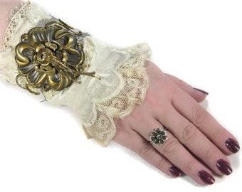 Steampunk Textile Cuff BRIDAL Cuff Victorian Ivory Lace Brass ROSETTE Rhinestone Gears Tassel Wedding Cuff - Steampunk Cuffs by edmdesigns