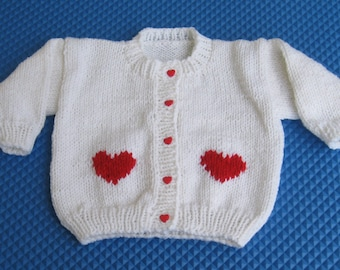 Hand Knit White Cardigan with Red Hearts for Child