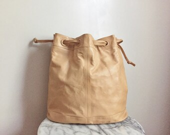 SALE - Vintage Soft Slouchy Large Drawstring Bucket Bag by Bagheera. Made in Italy.