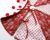 Tabletop Tree Skirt, Red and Green, Red Rickrack