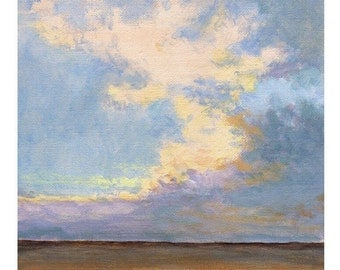 Early Morning - 8x8 Art PRINT Orignal Landscape Painting Sky and Dramatic Clouds Zen