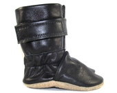 Soft Sole Black Leather Winter Baby Boots 0 to 6 Month