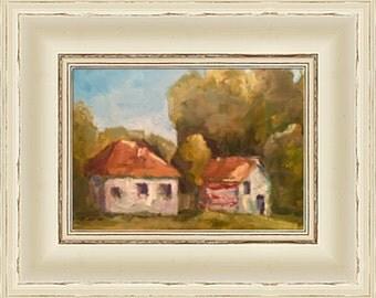 Modern decor, Impressionism,American Barn,Oil Painting,Original