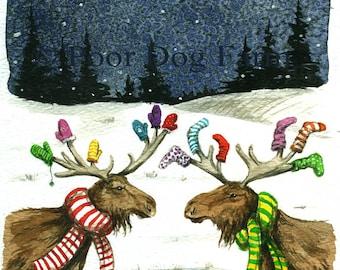 Mitten Moose Meets Sock Moose - signed 8 x 10 watercolor print