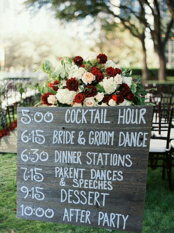 Wedding Itinerary Board. Personalized Wedding Schedule. Wedding Signs. Reception Rustic Wedding Decorations Wedding Seating Chart