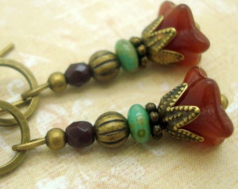 Boho Chic Earrings with Rustic Flower Dangles in Deep Red and Blue Green Stacked Glass Beads