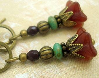 Boho Chic Earrings, Zen, Rustic Flower Dangle, Deep Red Glass, Blue Green Stacked Beads, Bohemian, Neo Victorian, Handmade, Petite, Brass