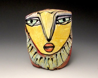 "Owl, Owl art, Clay owl, clay sculpture, joyful OOAK, ""Owl Woman Singing the Dream into Being"", 3-1/2"" tall"